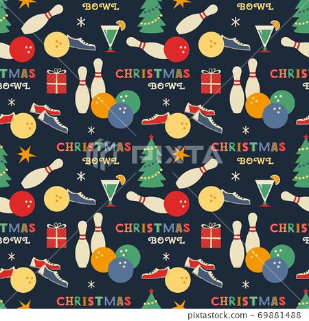 Christmas holiday Bowling seamless vector pattern 69881488