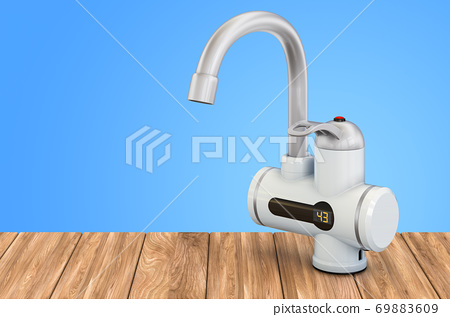 Instant electric hot water heater on the wooden table, 3D rendering 69883609