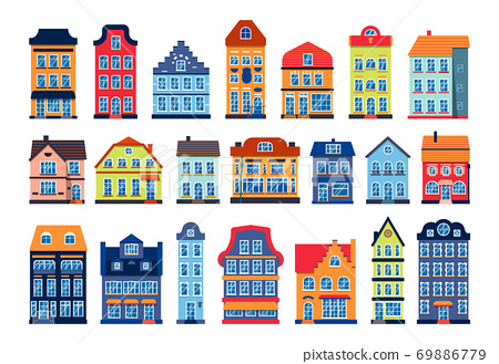 Cartoon houses colorful Amsterdam icon vector set 69886779