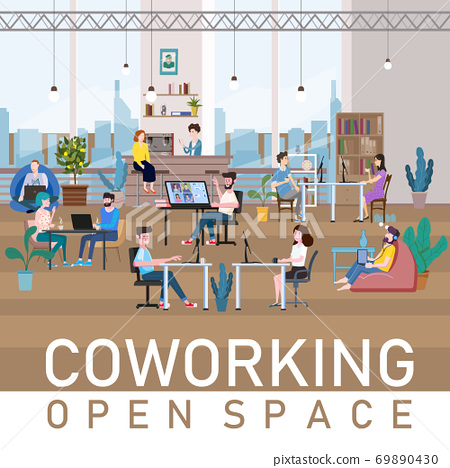 Coworking Space Office Interior People Talking And Working At The Computers In Modern Co-working Creative Workplace Open Space. Vector Illustration 69890430
