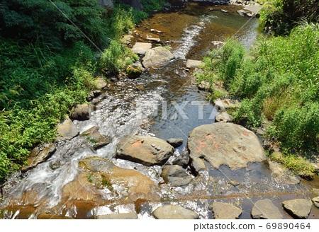 在台灣的新竹尖石老鷹溪,溪流與瀑布 69890464