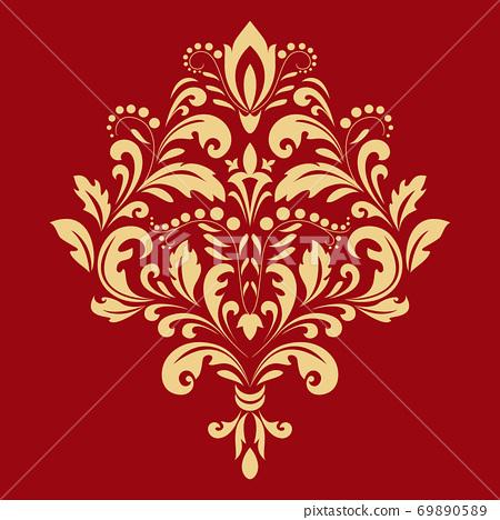 Damask graphic ornament. Floral design element. Gold  69890589