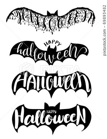 Halloween lettering on silhouette bat . 69893482