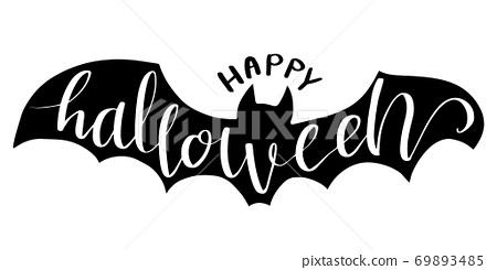 Halloween lettering on silhouette bat . 69893485