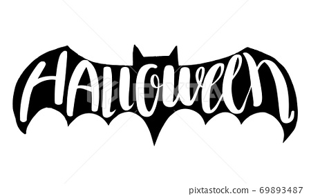 Halloween lettering on silhouette bat . 69893487
