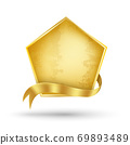 Gold billboard and gold ribbon 69893489