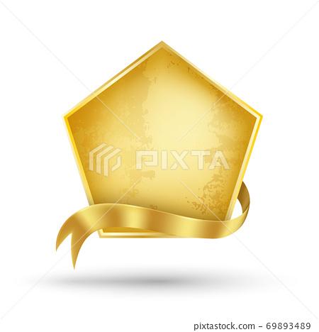 Gold billboard and gold ribbon 69893489