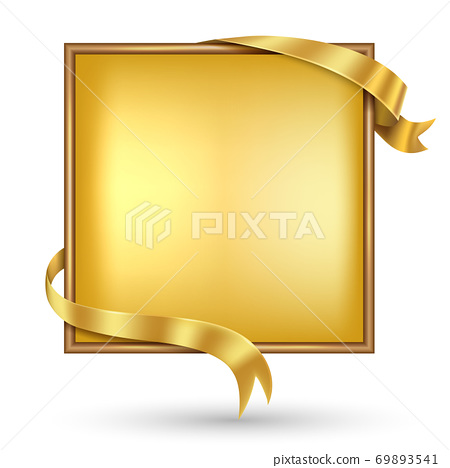 Gold banner with gold ribbon. 69893541