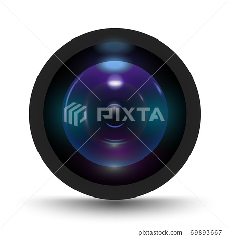 Vector illustration of colorful camera lens on white background. Icon for camera lens.  69893667