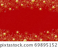 Snowflake background red gold powder 69895152