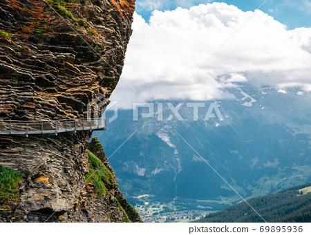 Swiss Alps mountain Grindelwald First Cliff walk way in Switzerland 69895936