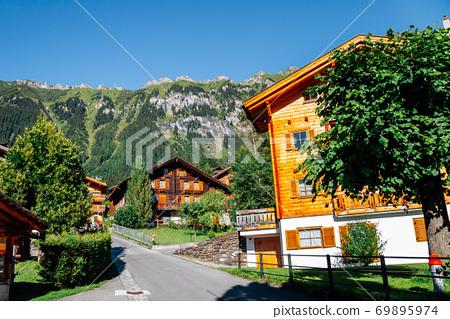 Wengen village and alps mountain in Switzerland 69895974