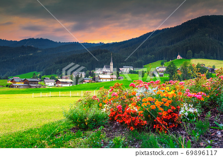 Spring alpine landscape with colorful flowers and green fields, Austria 69896117
