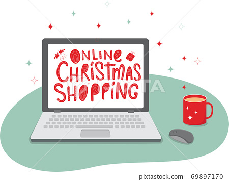 Laptop, mouse, sign on the screen - online Christmas shopping. Vector stock illustration isolated on white background for web shop design.  69897170