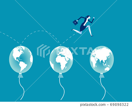 Business jumping through air balloon.  Global business concept 69898322