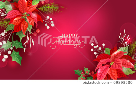 Christmas Winter Floral Design, Poinsettia Background, Vector Flowers Invitation, Holiday Party greeting banner 69898380