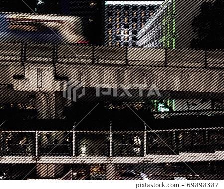 A bird's-eye view of the BTS Skytrain in central Bangkok 69898387