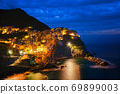 Manarola village n the night, Cinque Terre, Liguria, Italy 69899003