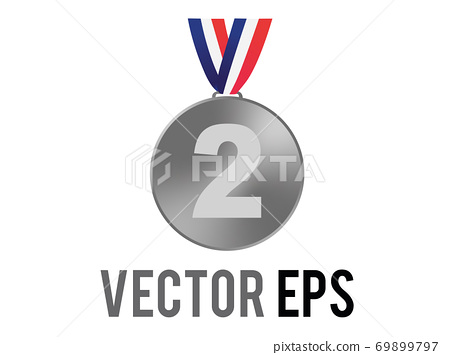 Vector second place silver medal icon with blue, white, red ribbon 69899797