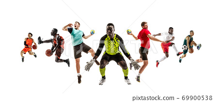 Collage of different sportsmen, fit men and women in action and motion isolated on white background 69900538