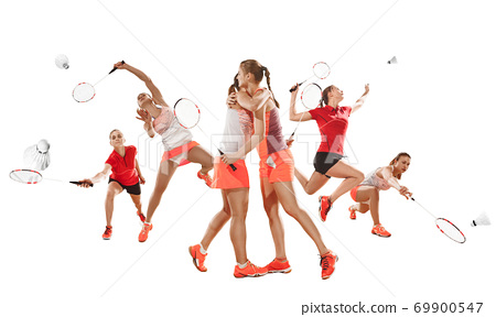 Collage of different sportsmen, fit men and women in action and motion isolated on white background 69900547