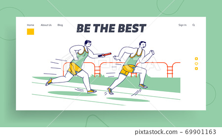 Male Characters Running Relay Race on Stadium Landing Page Template. Sportsmen Overcome Distance in Raw with Baton 69901163