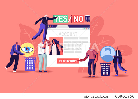 Social Account Deactivation. Tiny Male Female Characters at Huge Web Page with Social Network Page Deleting Information 69901556