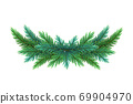 A realistic, detailed New Year's wreath of pine tree branches to create postcards, banners for the site. Realistic xmas decoration elements. 69904970