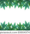 A realistic, detailed New Year's garland made of pine tree branches to create postcards, banners for the site. Realistic xmas decoration elements. 69904974