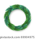 A realistic, detailed New Year's wreath of pine tree branches to create postcards, banners for the site. Realistic xmas decoration elements. 69904975
