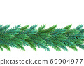 A realistic, detailed New Year's garland made of pine tree branches to create postcards, banners for the site. Realistic xmas decoration elements. 69904977