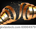 Merry Christmas and Happy New Year background with gold ribbon 69904979