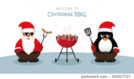 cute santa claus and penguin with sunglasses at christmas bbq 69907335