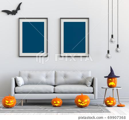 Halloween poster mock up in living room and pumpkins, jack-o-lantern. 3D render 69907368