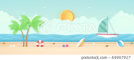 Summer Time, seascape, landscape, sailboat with sea, beach and stuff, cloud, sun, paper art style 69907927