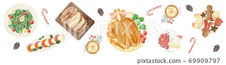 聖誕晚會餐桌風景水彩插圖 69909797