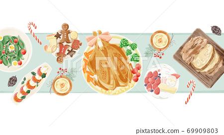 聖誕晚會餐桌風景水彩插圖 69909803
