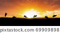 Concept design for Trail running at the sunset time 69909898