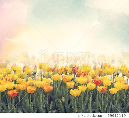 Yellow tulip flowers watercolor. 69912119
