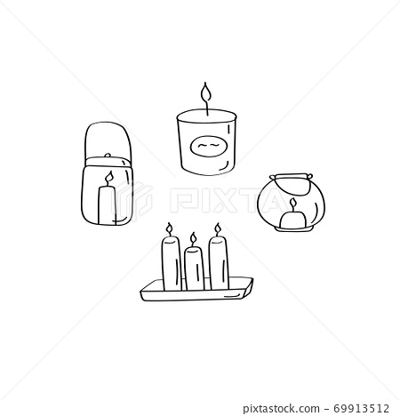 Candle hand drawn set. Interior cozy elements. Linear doodle vector illustration 69913512