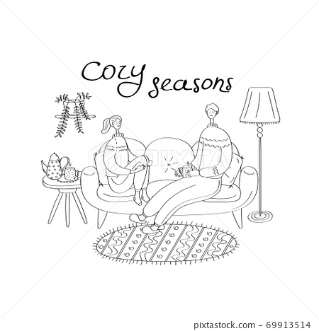 Hygge card with happy couple. Cozy home, stay home concept. Linear hand drawn vector illustration for poster, sticker, banner, seasonal design 69913514