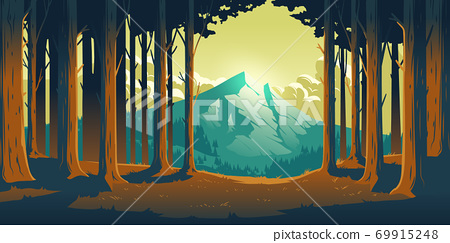 Cartoon nature landscape with mountain and forest 69915248