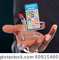 Black guy holding shopping cart with mobile phone, collage with onilne store selling different household goods on screen 69915460