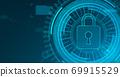 Safety concept, closed padlock on blue digital background 69915529