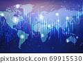 Global Economy And Currency Exchange Graphs Over Blue Background, Illustration 69915530