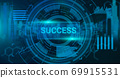 Illustration of virtual screen with circles panel button, banner 69915531