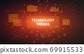Illustration of virtual screen with techology trends button 69915533