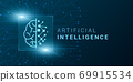 Digital Brain Creative Illustration For Artificial Intelligence Concept With Linear AI Logo 69915534