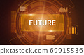 Illustration of virtual screen with circles panel button 69915536
