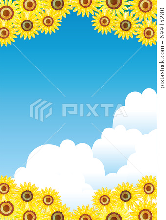 Sunflower sunflower background illustration with hand-painted summer image   Watercolor style blue blank cloud background 69916280